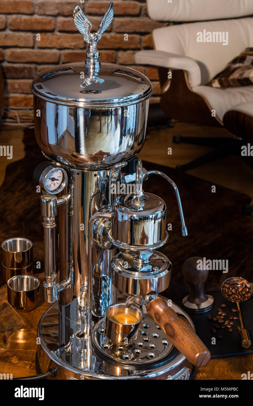 High End Espresso Machine - Barista at home - Stock Image