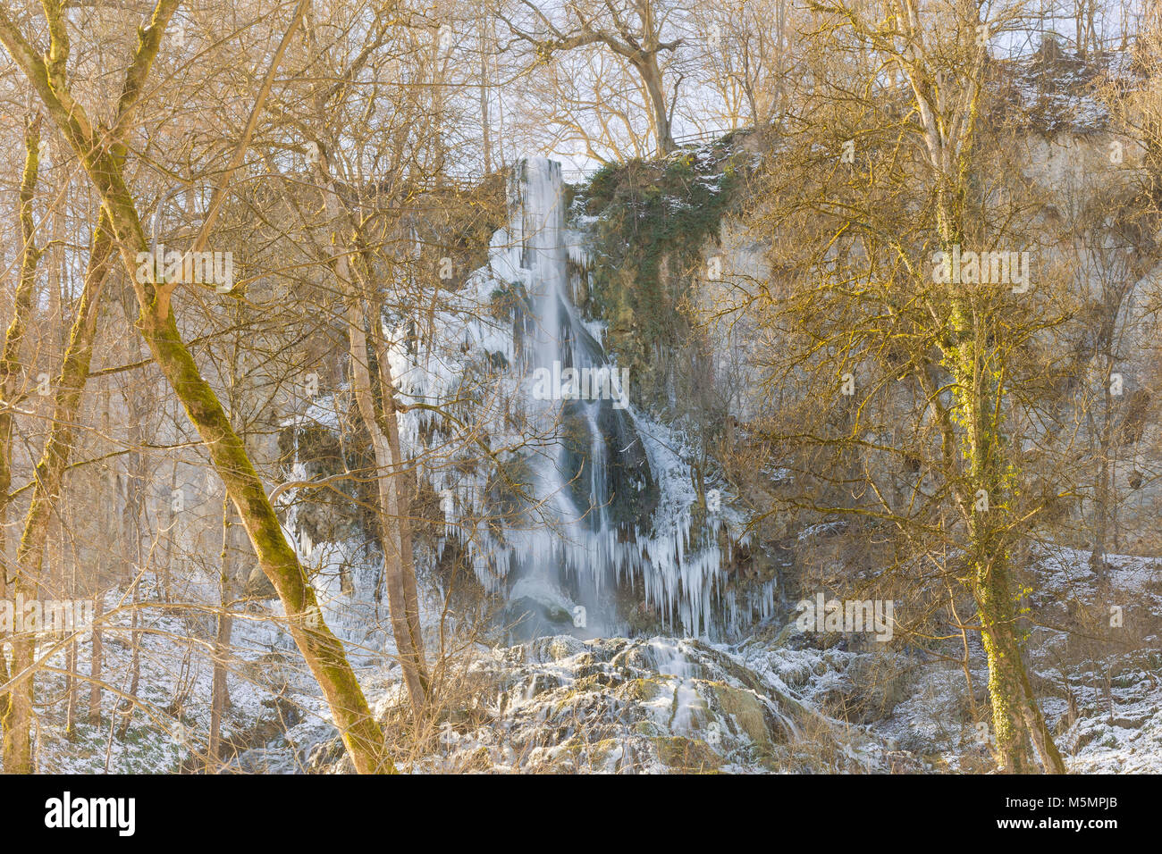 Uracher Wasserfall in winter - Stock Image