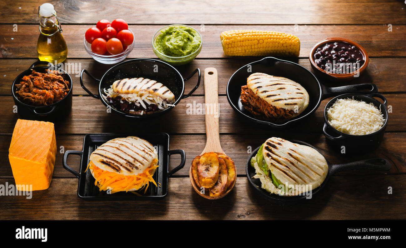 Different types of arepas the typical venezuelan food stock photo different types of arepas the typical venezuelan food forumfinder Choice Image