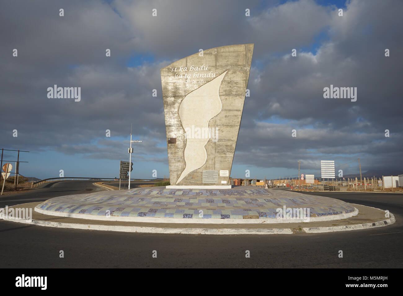 Monument to the Emigrants, Praia International Airport, Santiago Island, Cape Verde - Stock Image