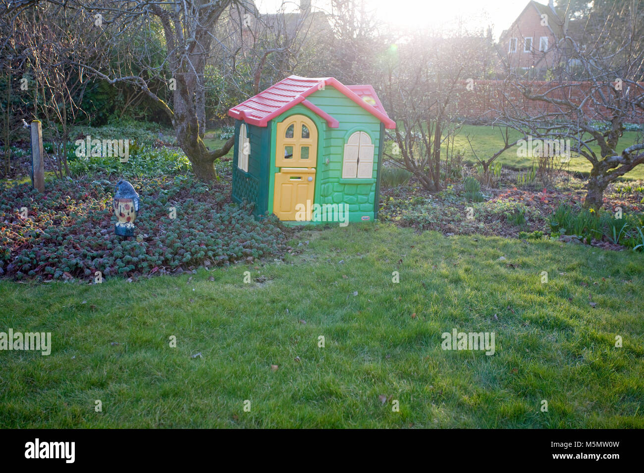 Childrens Play House In The Garden In Winter Stock Photo 175635625