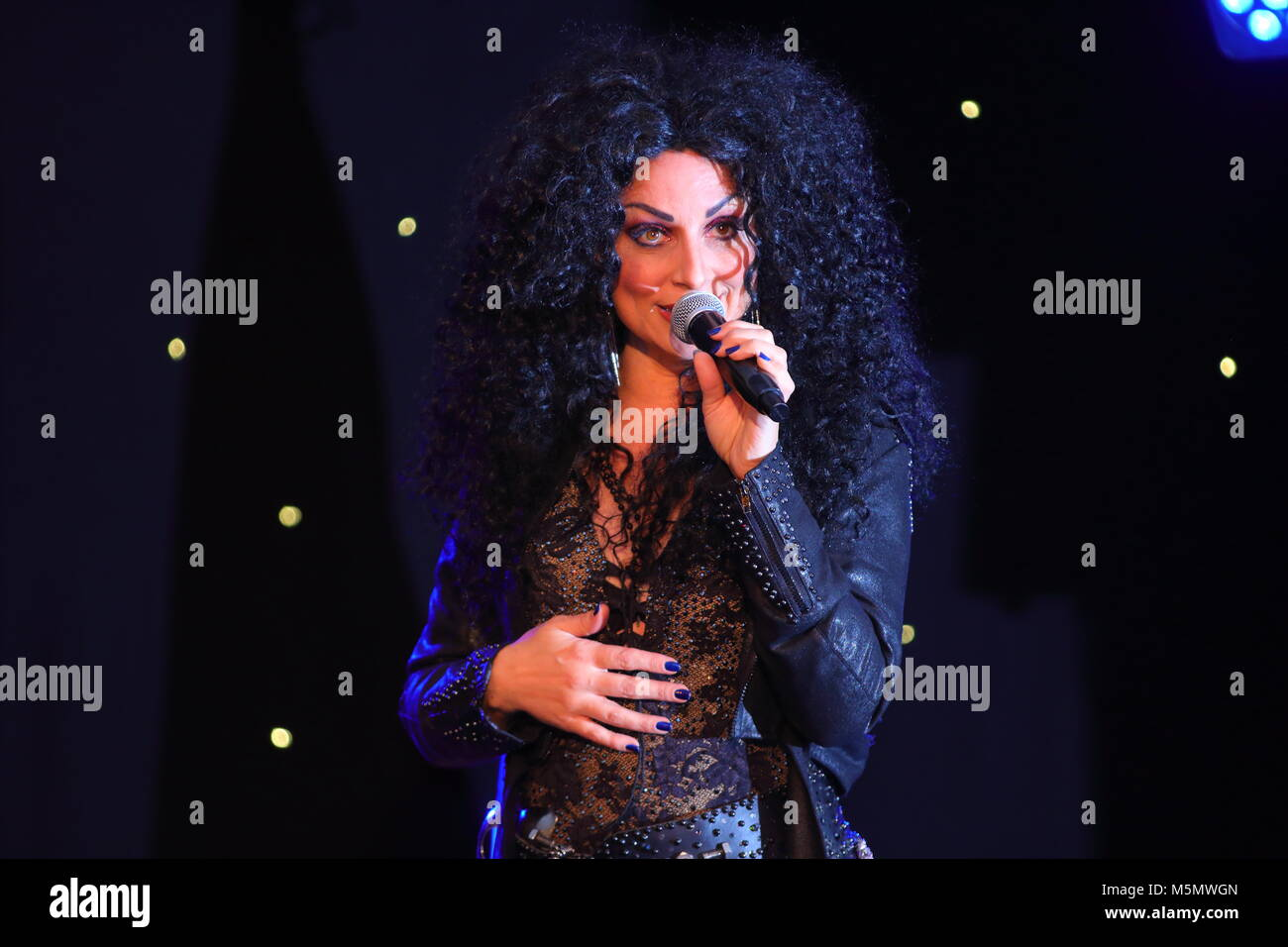 Tania Alboni performing  her Cher tribute act during The Ultimate Tribute Show at Swillington Miners Welfare Club - Stock Image