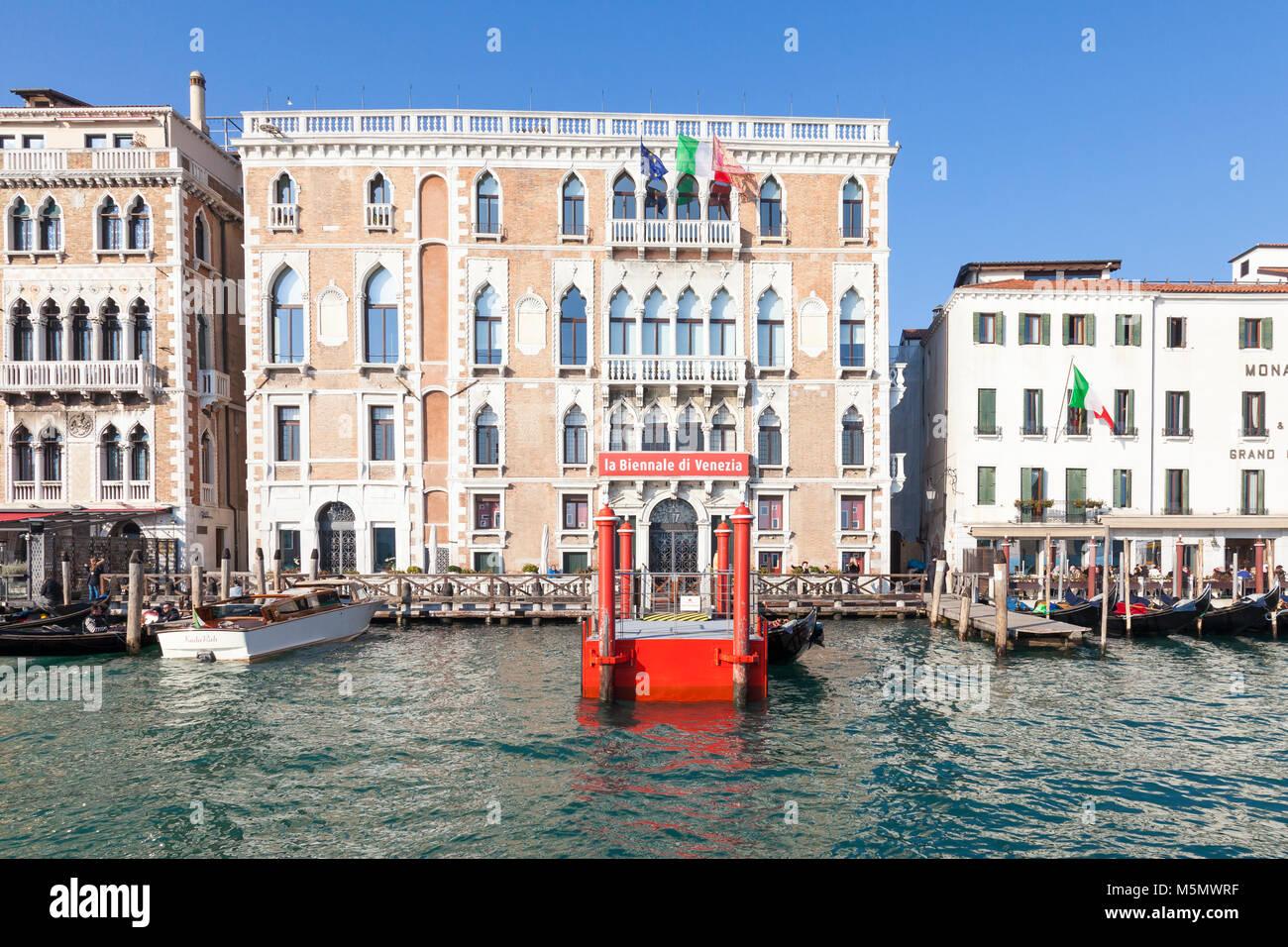 Ca Giustinian, the headquarters of La Biennale di Venezia, Grand Canal, San Marco, Venice,  Veneto, Italy which - Stock Image