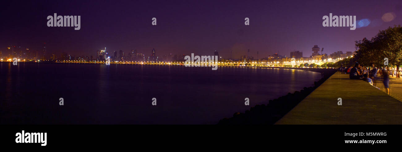 Marine Drive,Mumbai.India.That curve is the heart of Mumbai. A must see location in south Mumbai. One of the most - Stock Image