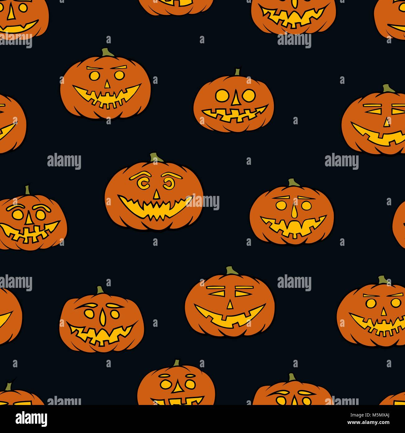 Hand Drawn Jack O Lantern Seamless Pattern Halloween Background Stock Vector Image Art Alamy