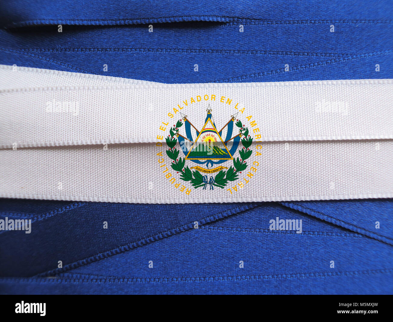 El Salvador flag or banner made with blue and white ribbons - Stock Image