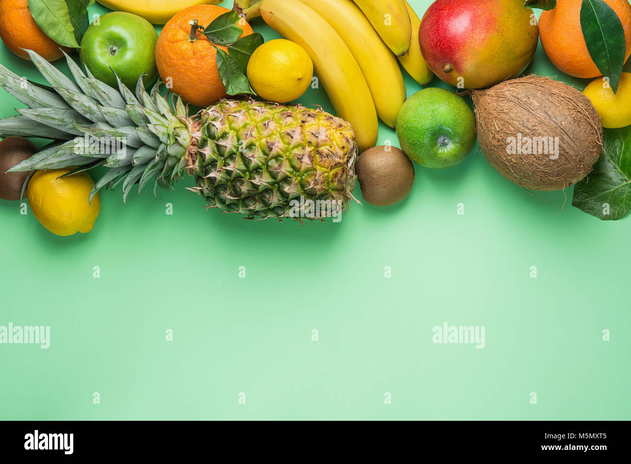Variety Of Different Tropical And Summer Fruits Pineapple Mango Stock Photo Alamy