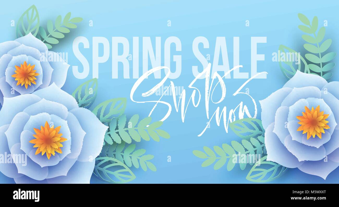 spring sale banner with paper flowers and calligraphy lettering vector illustration
