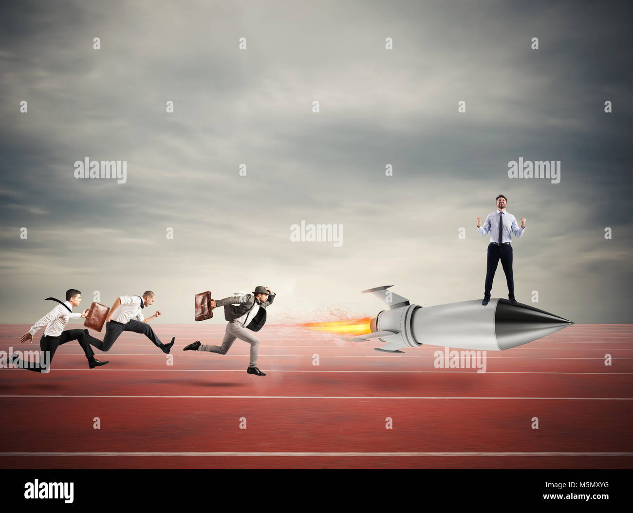 Winner businessman over a fast rocket. Concept of business competition - Stock Image