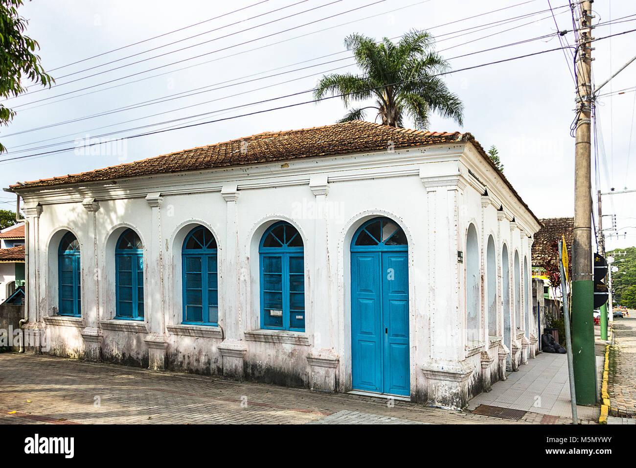 Porto Belo, Santa Catarina, Brazil - February 20th, 2018: Facade of the Casa Dr. Frederico Scheffler, built in 1902 - Stock Image