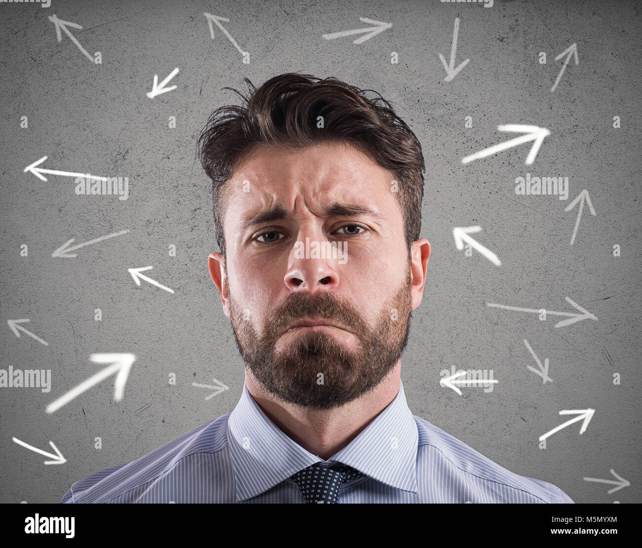 Difficult choices of a businessman. concept of confusion - Stock Image