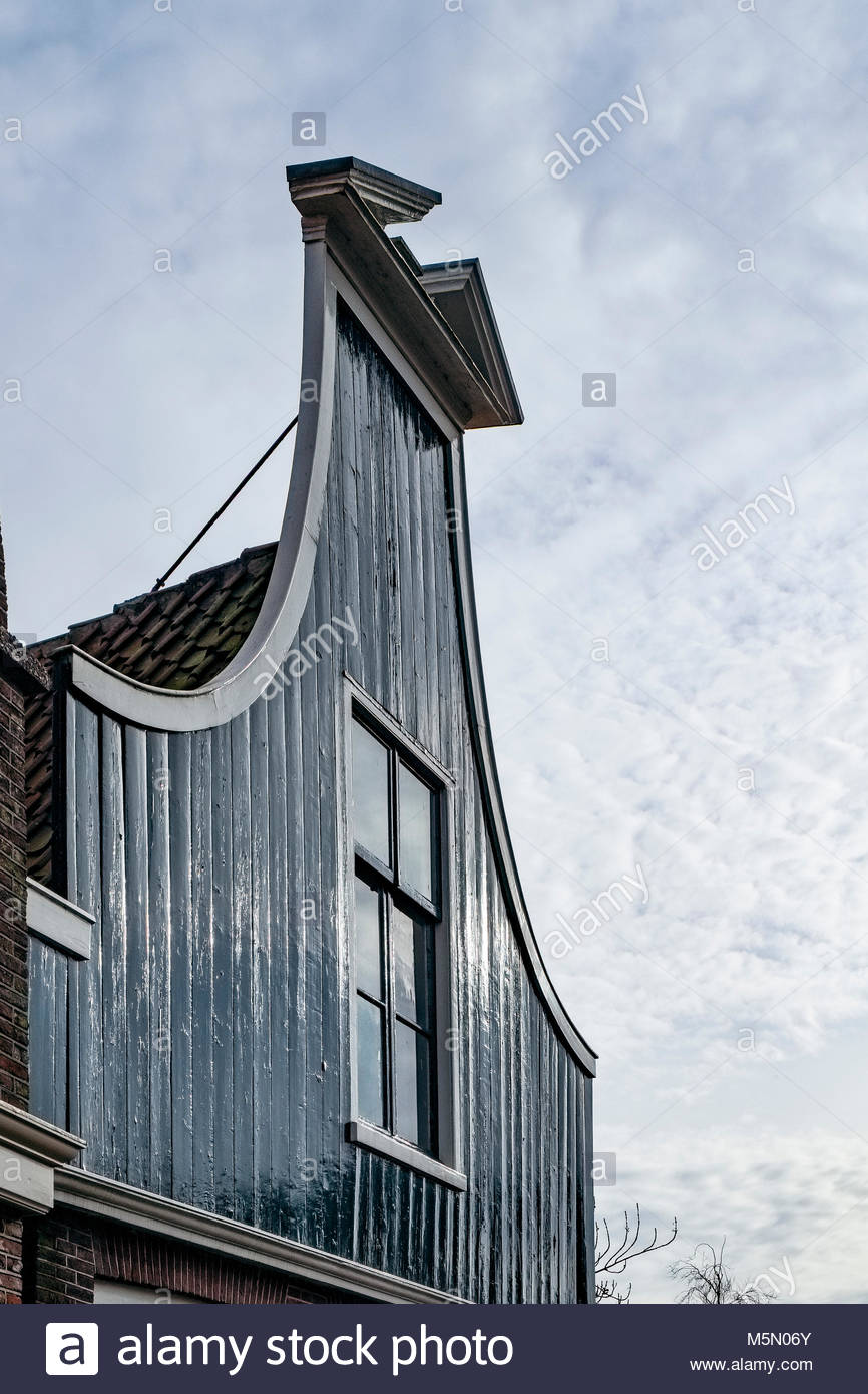 False front architectural detail, Edam, North Holland, The Netherlands - Stock Image