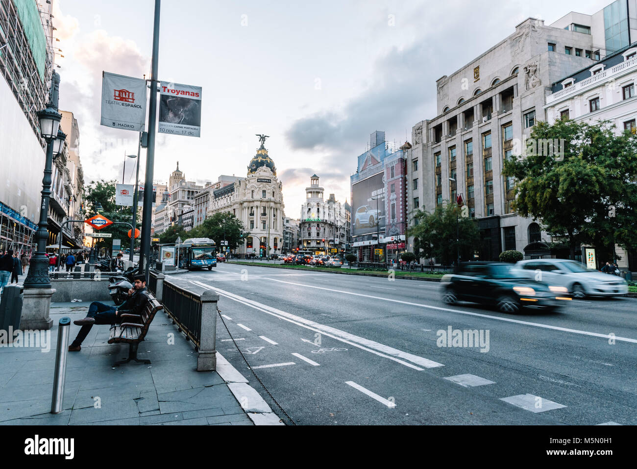 Madrid, Spain - November 3, 2017:  Alcala street and Metropolis Building in Madrid at sunset. Stock Photo