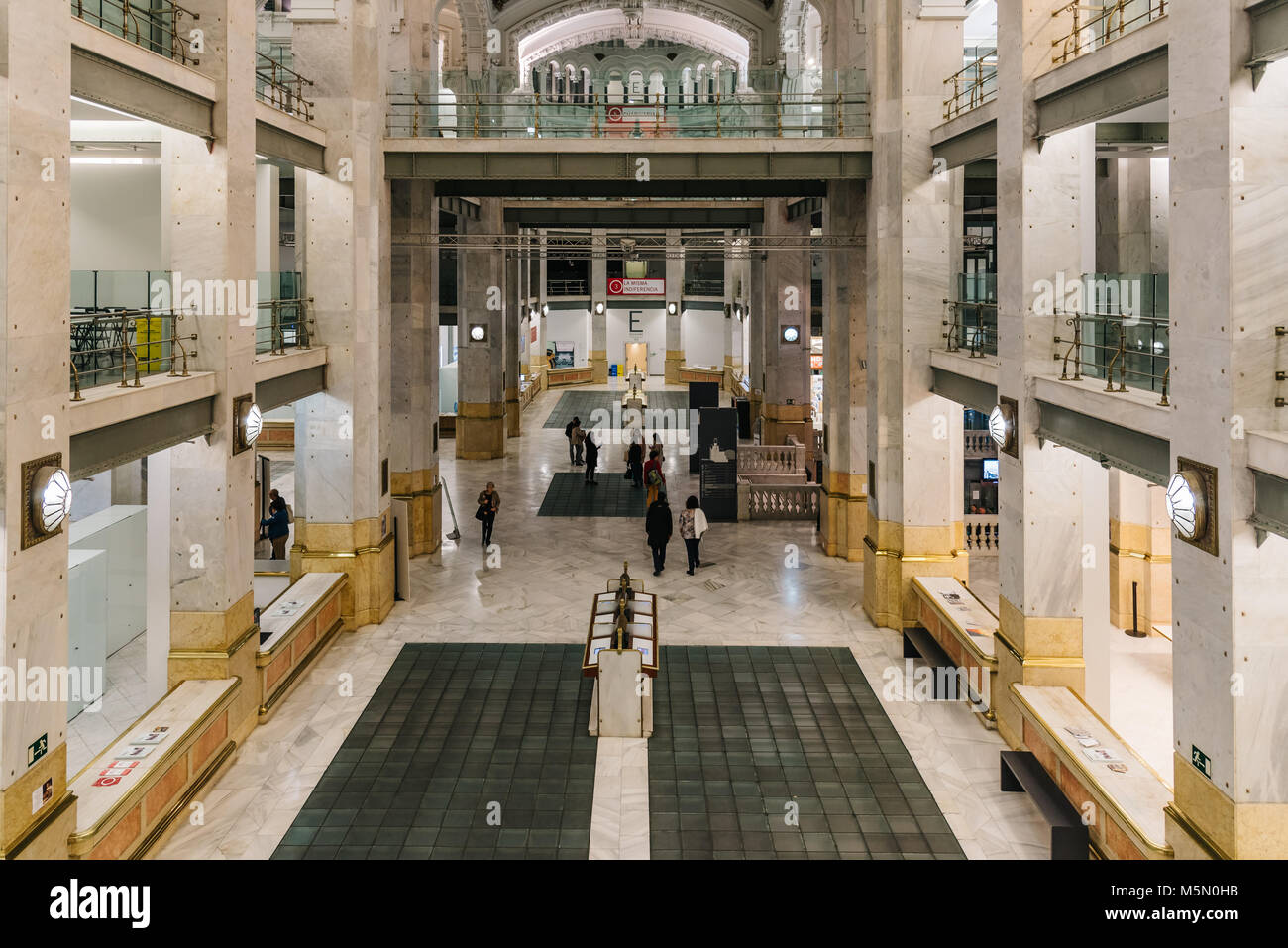 Madrid, Spain - November 3, 2017:  Interior view of Centro Cibeles in the new City Hall of Madrid. Located in the Stock Photo