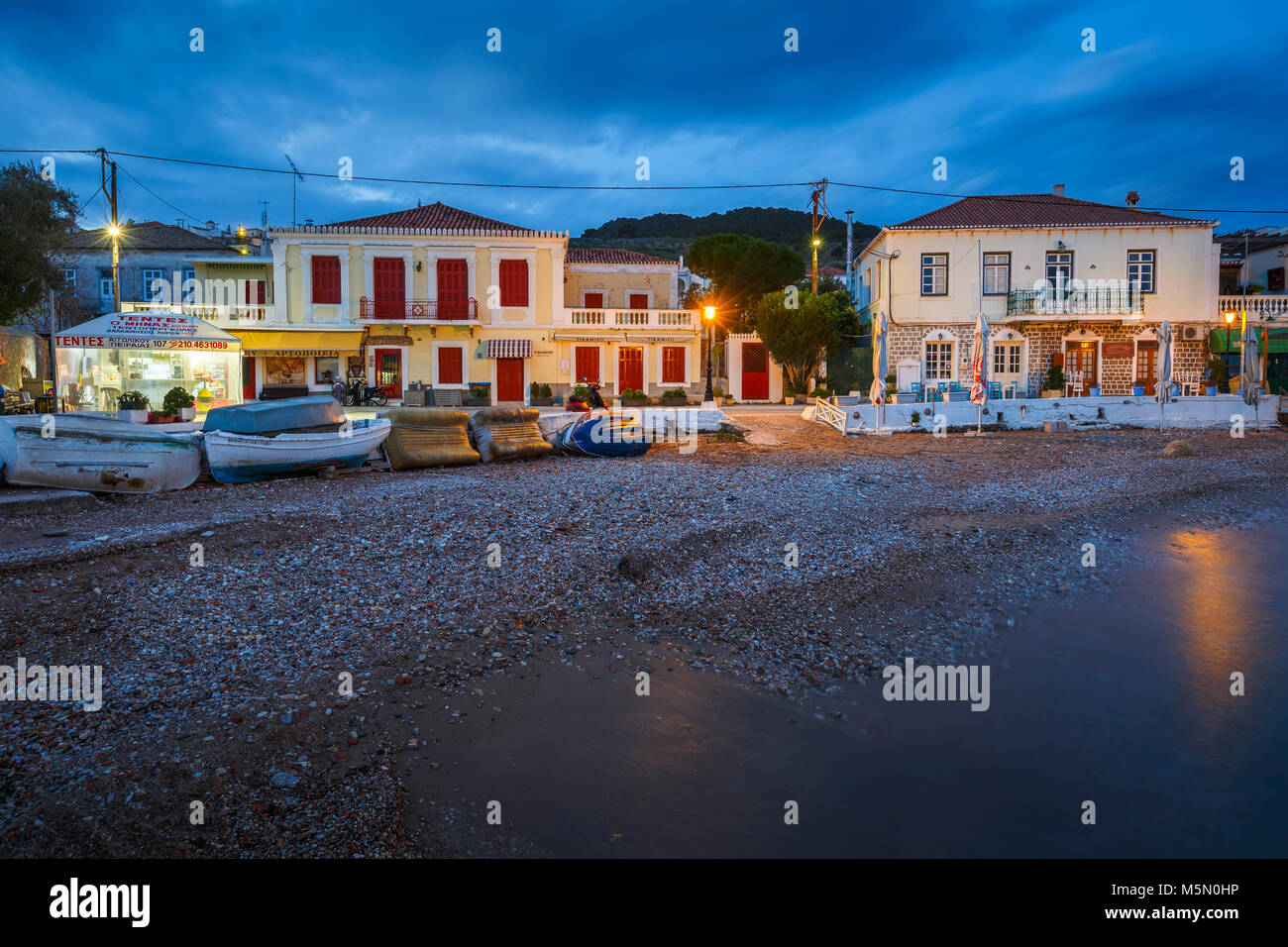 Morning view of Spetses village and its seafront, Greece. - Stock Image