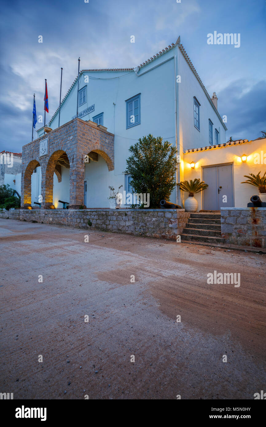 Morning view of Spetses town hall, Greece. - Stock Image