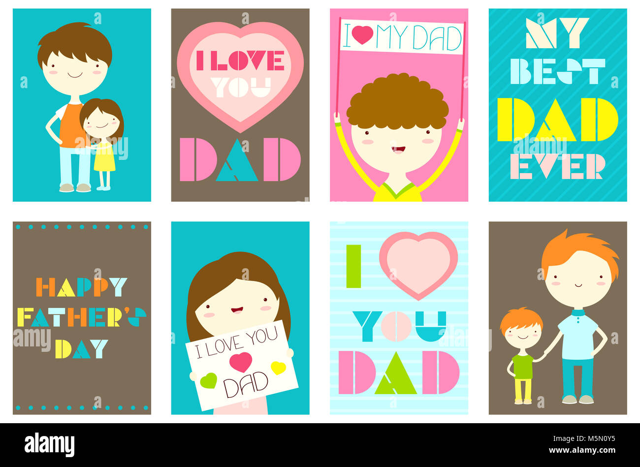 Happy Fathers Day Greeting Cards Set Collection Of Banner Stock