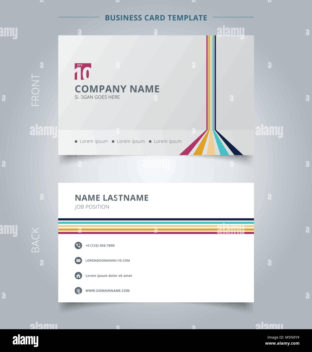 Creative business card and name card template lines vertical horizontal room perspective colorful on white background. Abstract concept and commercial Stock Vector