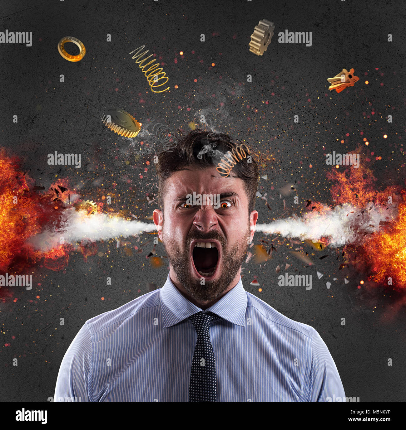 Head explosion of a businessman. concept of stress due to overwork - Stock Image