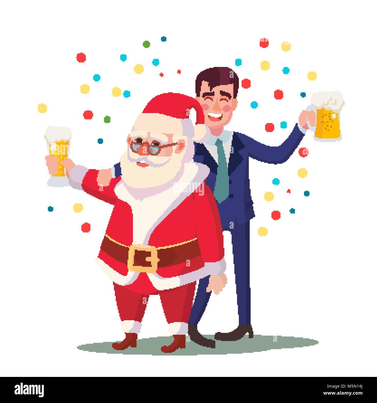 Drunk Man And Santa Claus Vector. Corporate Christmas Party At Stock ...