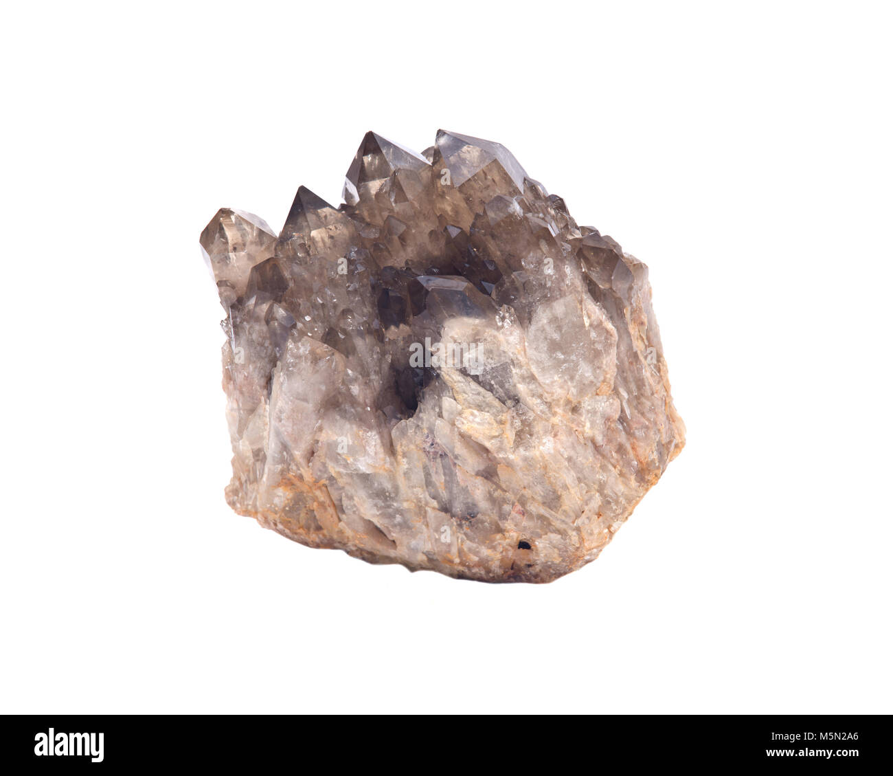 Smokey ciitrine cluster isolated  on white background - Stock Image