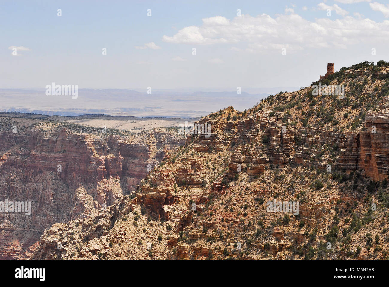 Grand Canyon Nat Park; Desert View Point Refurbishing  . June 25, 2012. View of Desert View Point from Navajo Point. - Stock Image