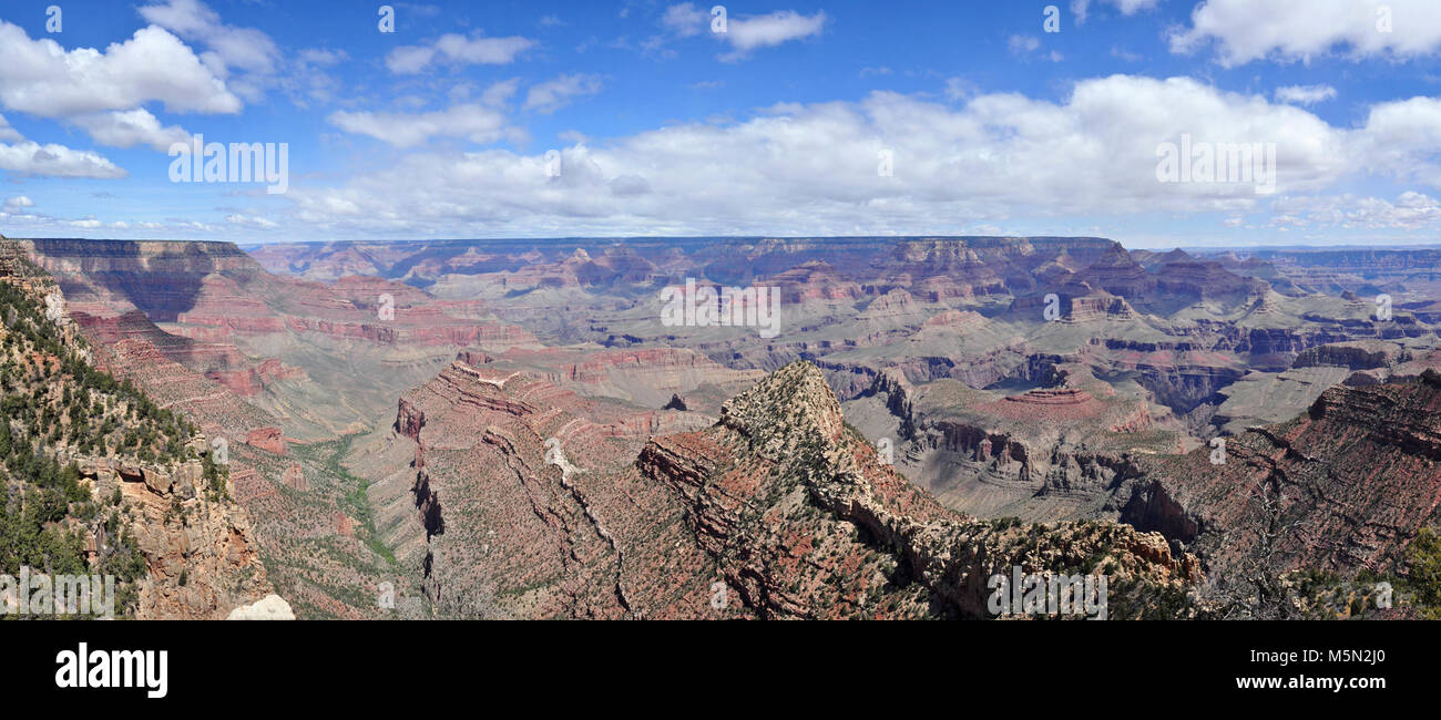 Grand Canyon National Park Grandview Point Panorama  . Elevation: 7399 feet / 2256 meters. This popular South Rim - Stock Image