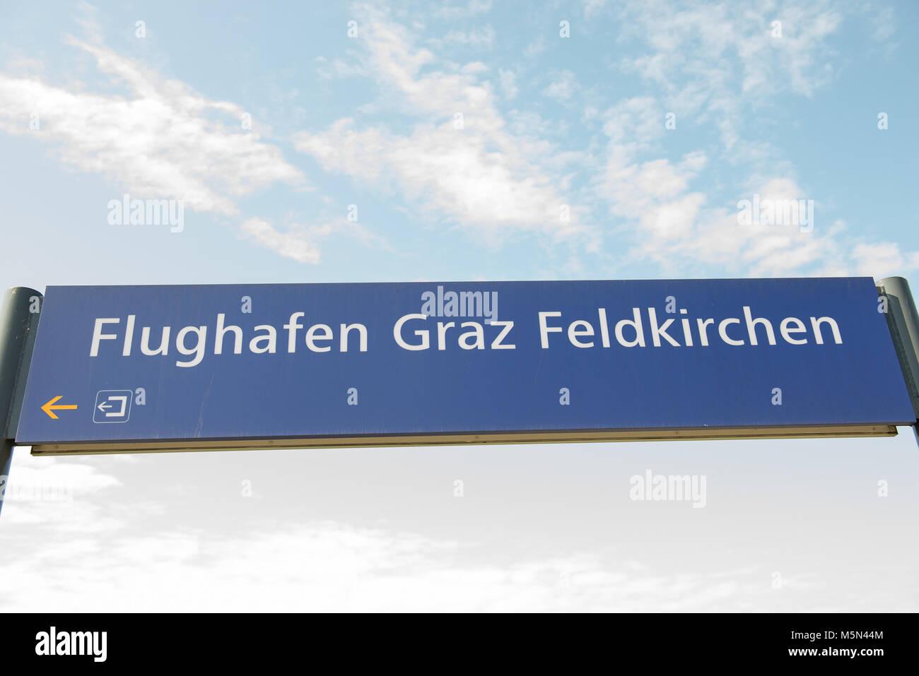 Train station sign in Austria Flughafen Graz Feldkirchen - Stock Image