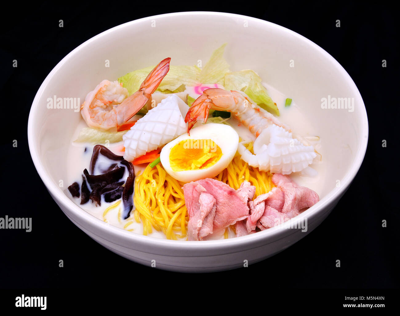 Japanese food style mix eeg shrimp pork squid and other - Stock Image