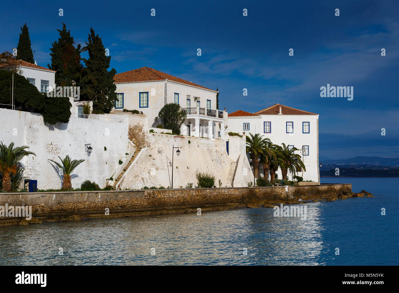 Traditional architecture in Spetses seafront, Greece. - Stock Image
