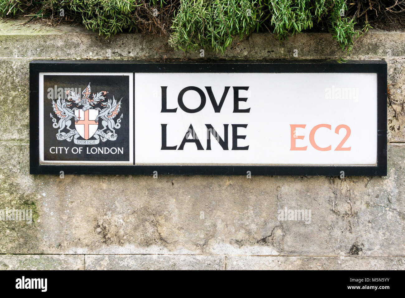 Street sign for Love Lane in the City of London - Stock Image