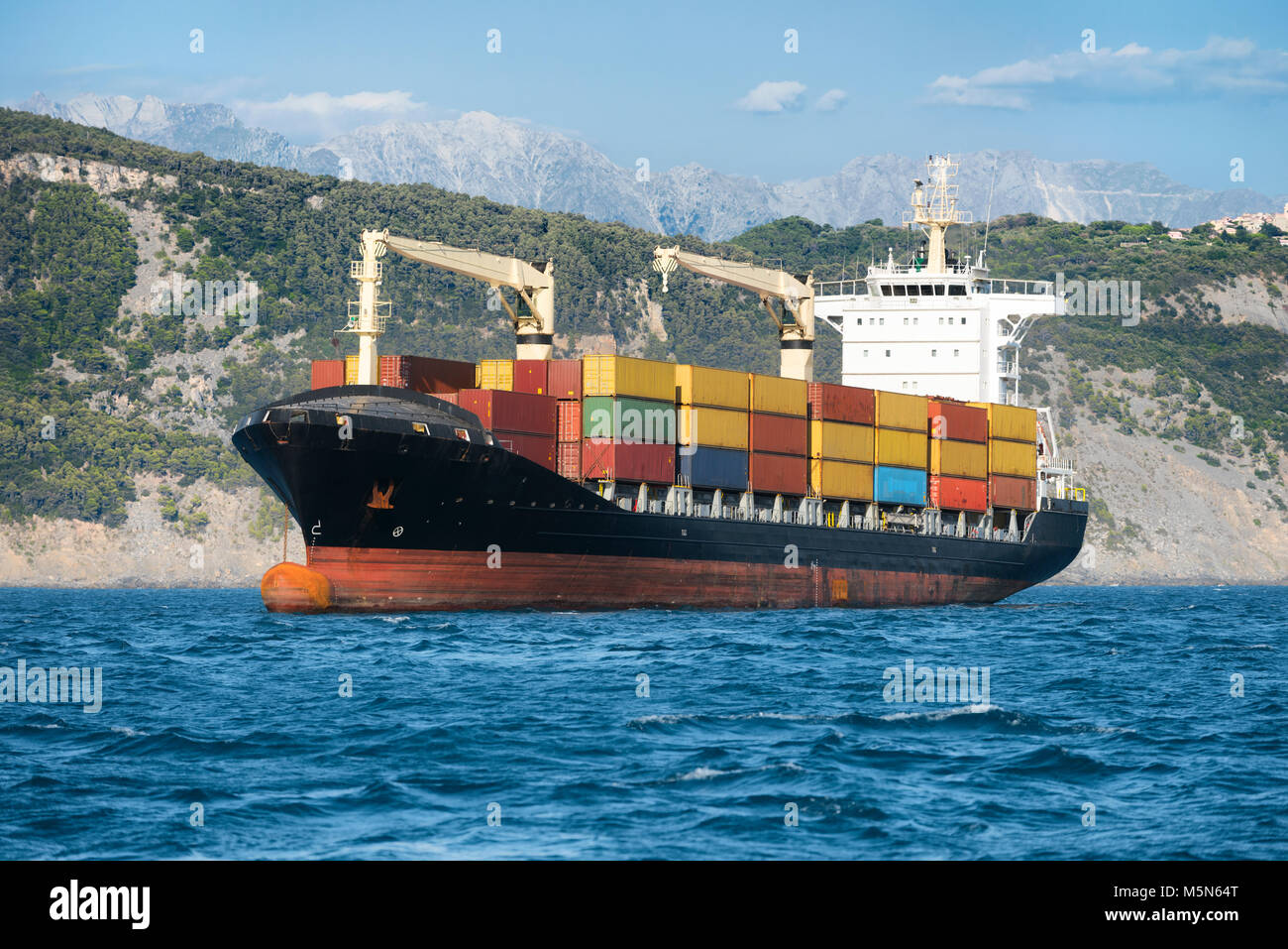 Logistics and freight transportation of international container Cargo ship in the ocean. Shipping concept - Stock Image