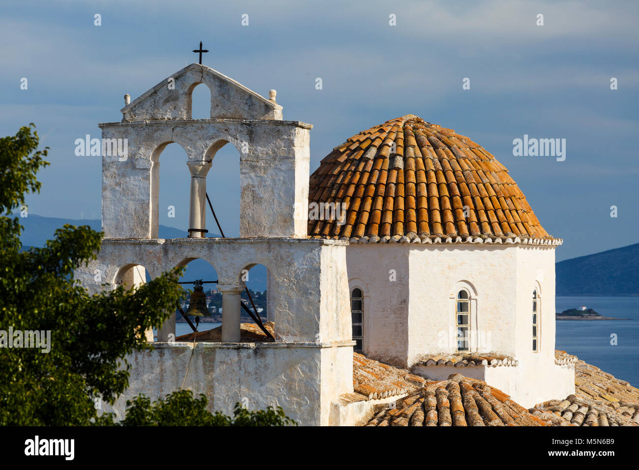One of the main churches in Spetses village, Greece. - Stock Image