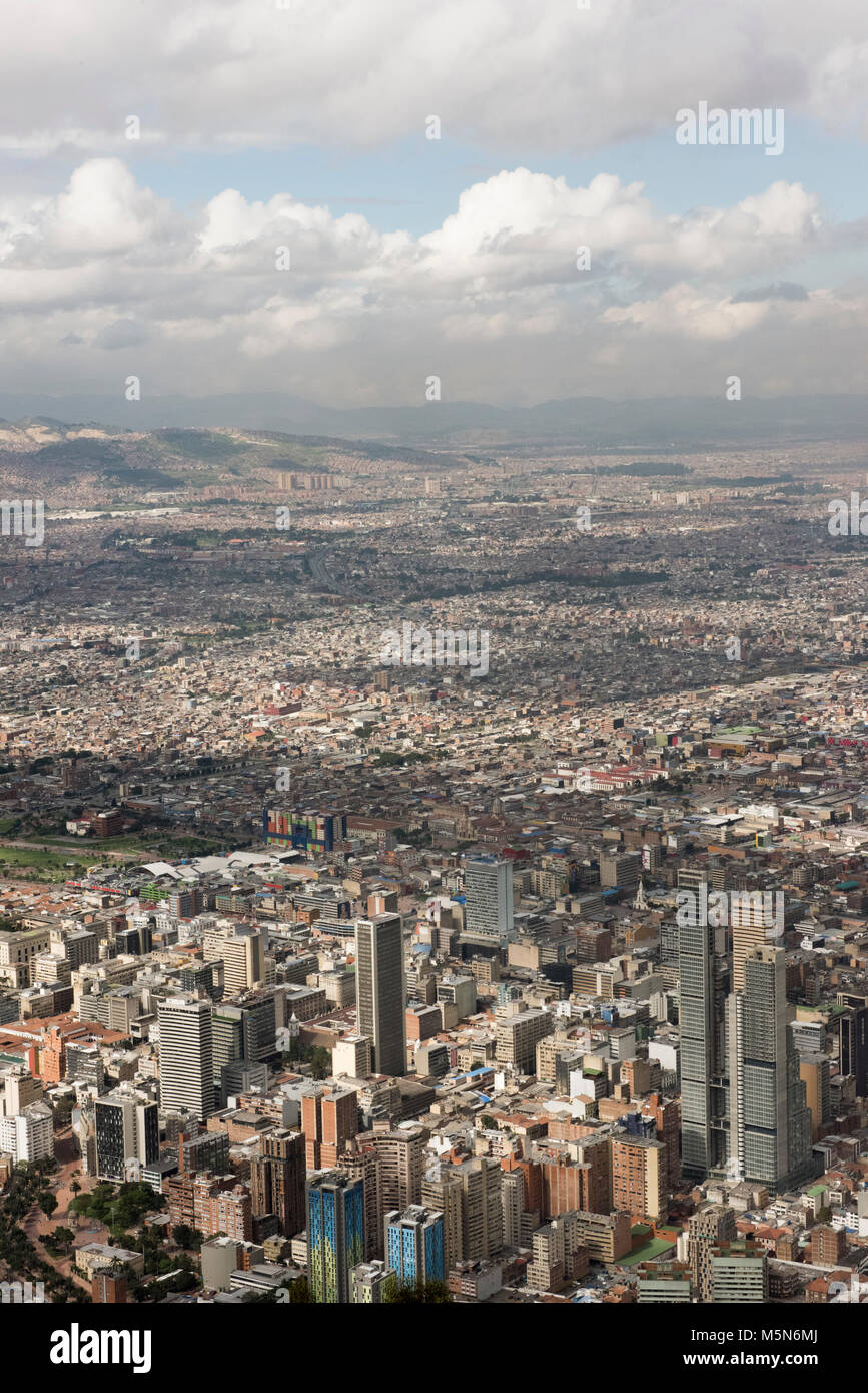 Bogota, capital city of Colombia viewed from  above - Stock Image