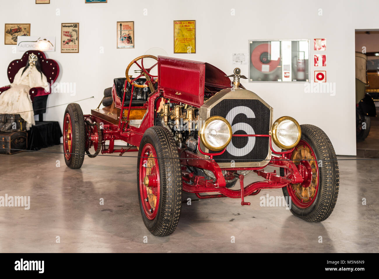 Malaga, Spain - December 7, 2016: A number 6 is painted on the radiator of antique car displayed in Malaga Automobile - Stock Image