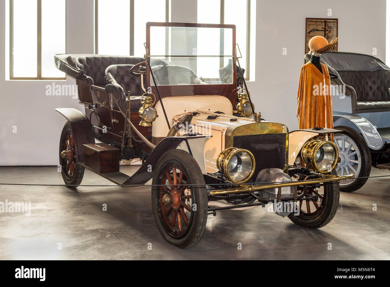 Malaga, Spain - December 7, 2016: Vintage Antique 1906 Jackson USA car displayed at Malaga Automobile Museum in - Stock Image