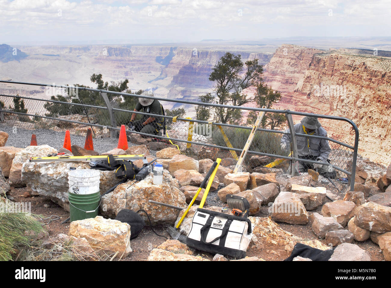 Grand Canyon Nat Park; Desert View Point Refurbishing  . June 25, 2012. Walkways and guard rails at Desert View - Stock Image