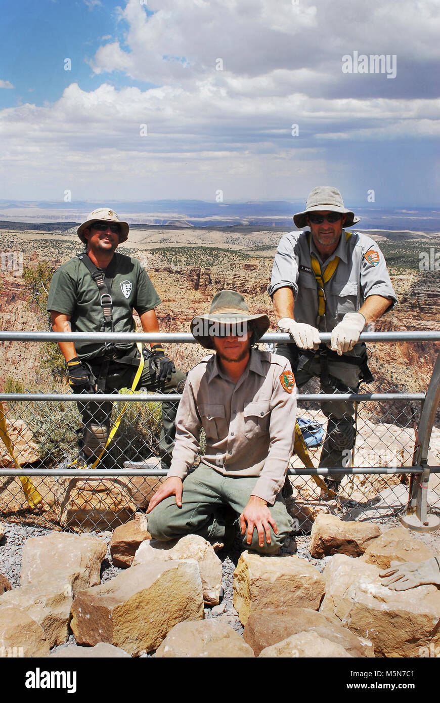 Grand Canyon Nat Park; Desert View Point Refurbishing  . June 25, 2012. Crew photo. Walkways and guard rails at - Stock Image