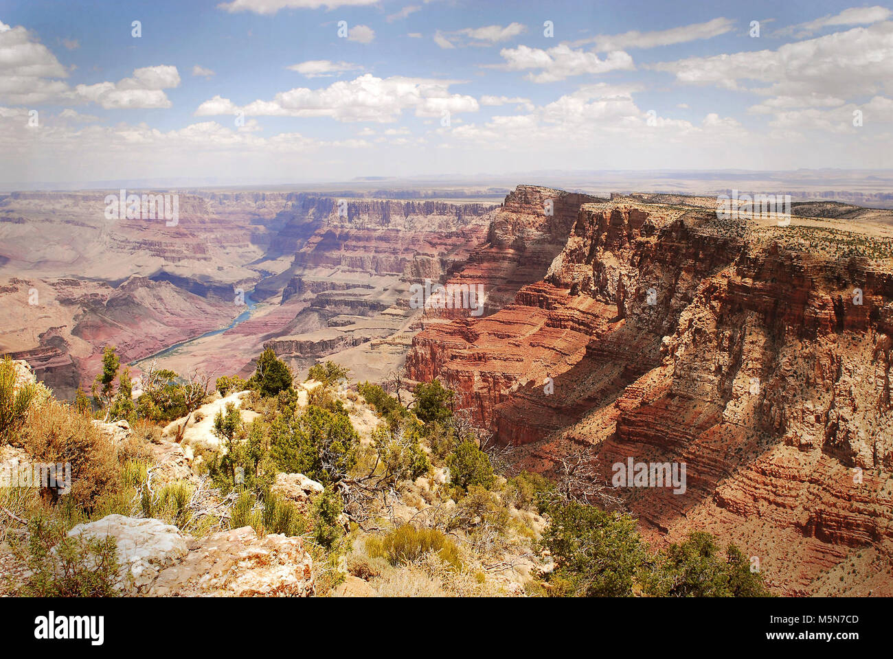 Grand Canyon Nat Park; Desert View Point Refurbishing . June 25, 2012. View from Desert View Point. Walkways and - Stock Image