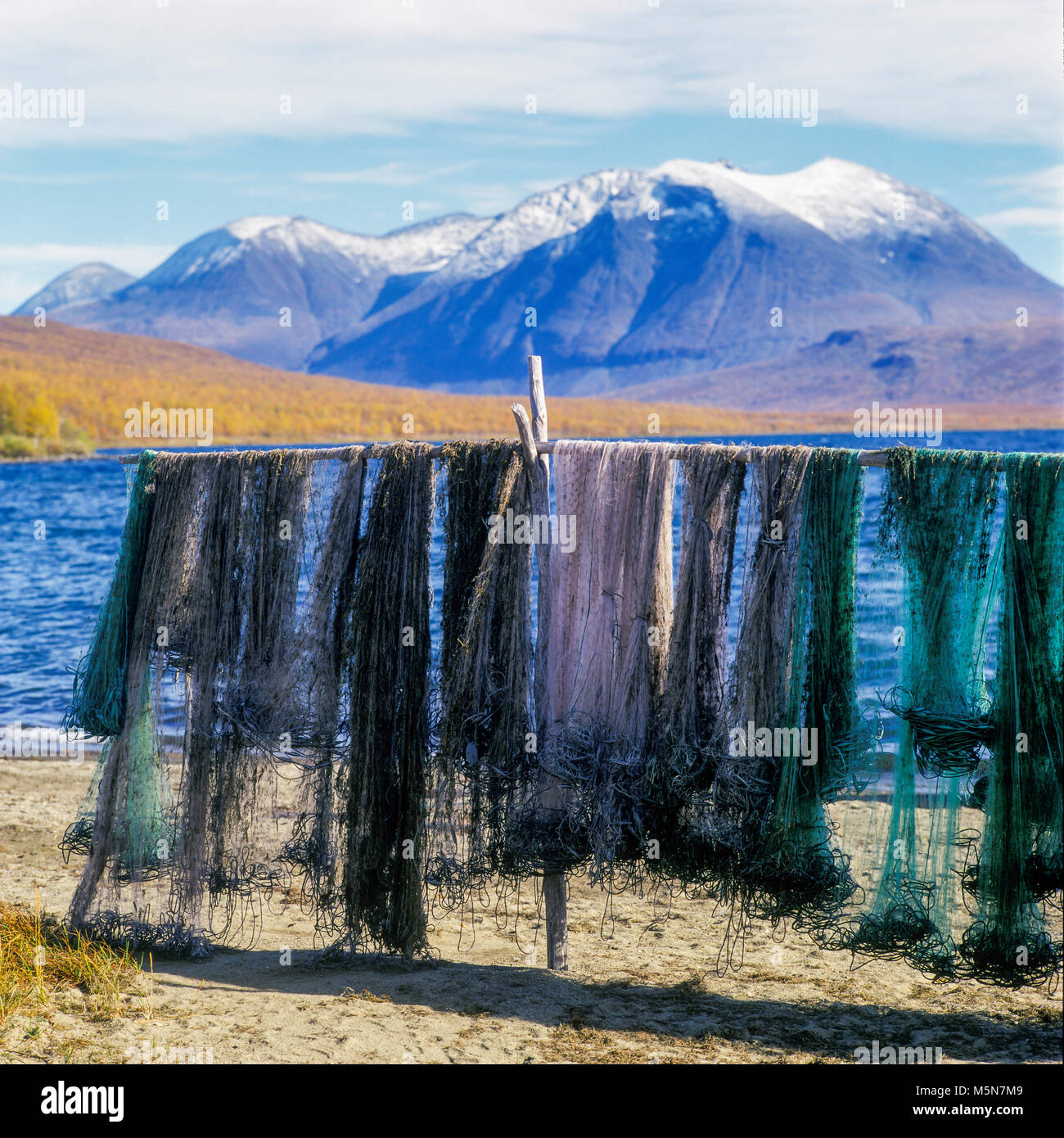 Fishing nets hung to dry. Laponia, Sweden. - Stock Image