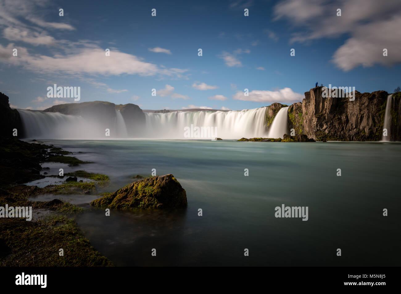 Godafoss waterfall and landscape, Iceland, Europe - Stock Image