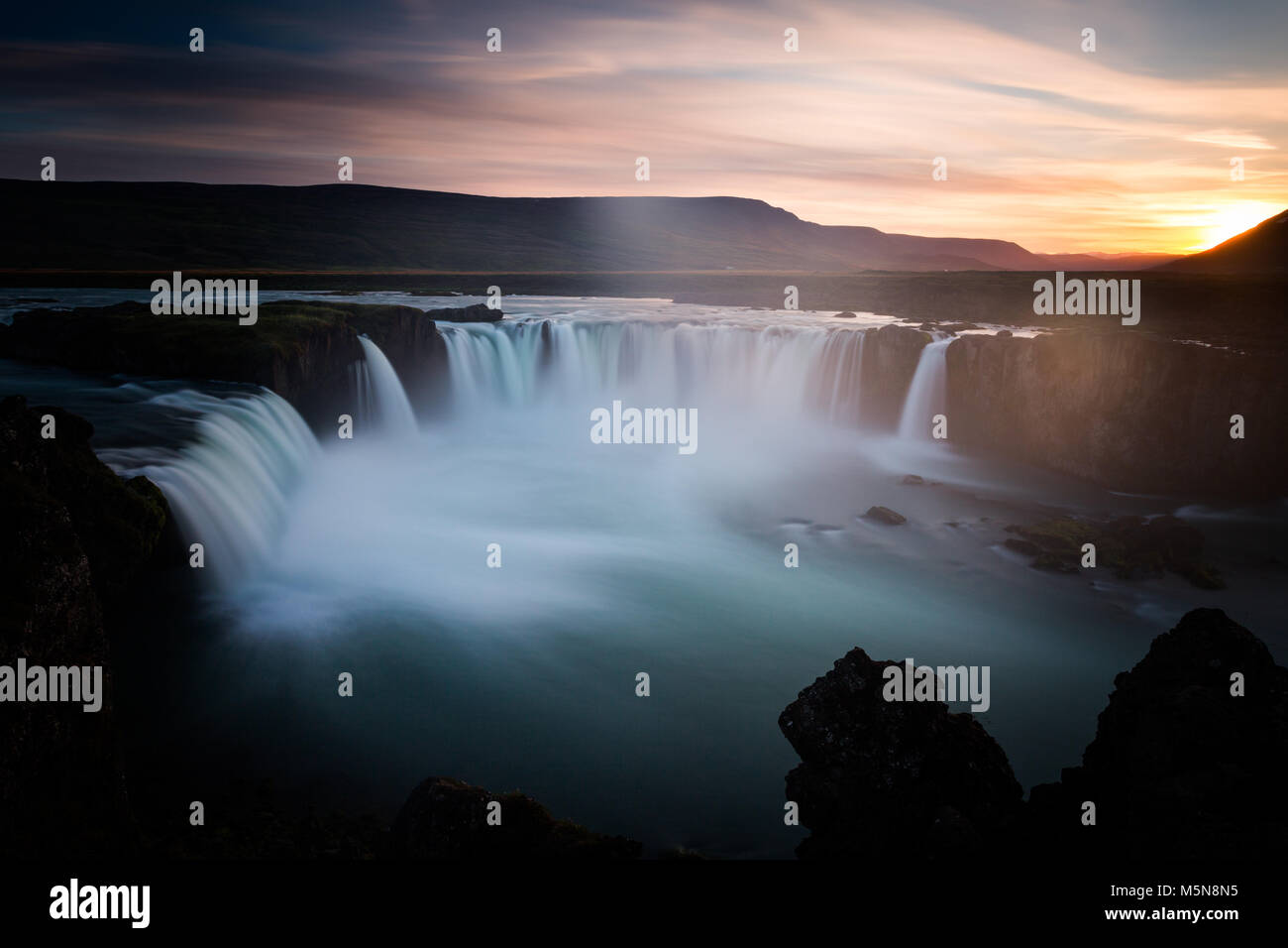 Godafoss waterfall and landscape, Iceland, Europe - Stock Image