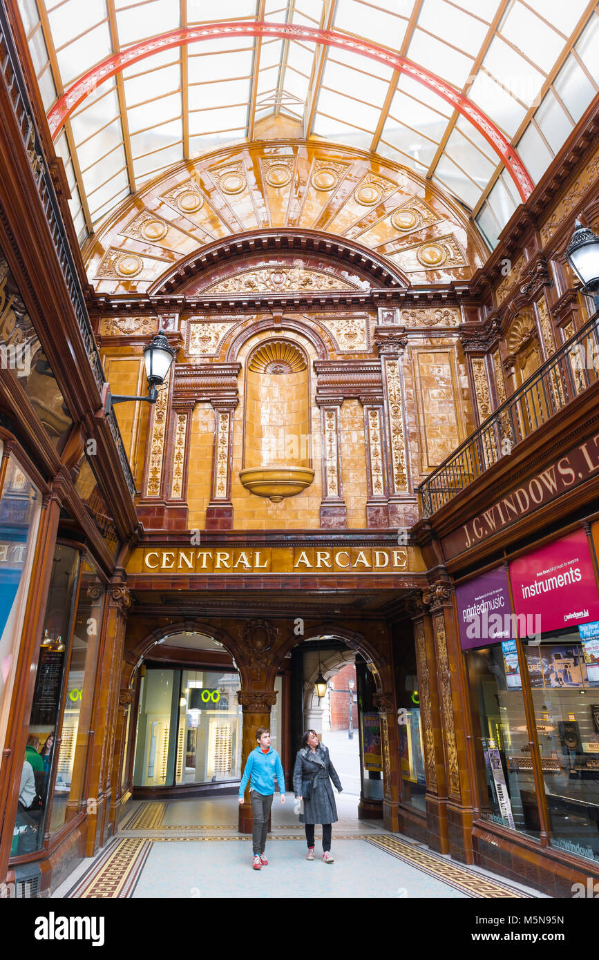 Newcastle England city architecture, view of the interior of the Central Arcade in Newcastle upon Tyne city centre, - Stock Image