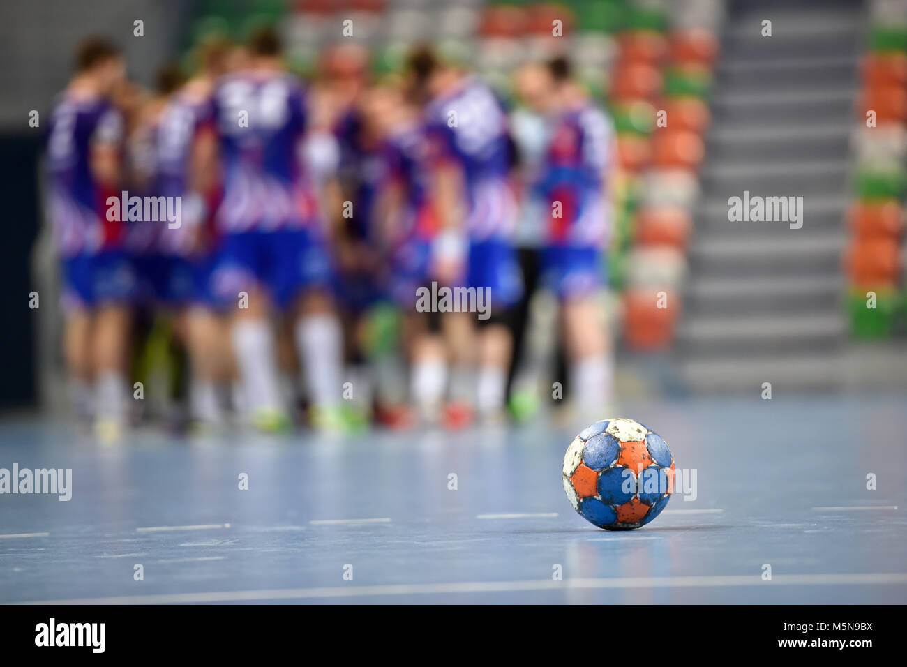 The ball during handball match time . - Stock Image
