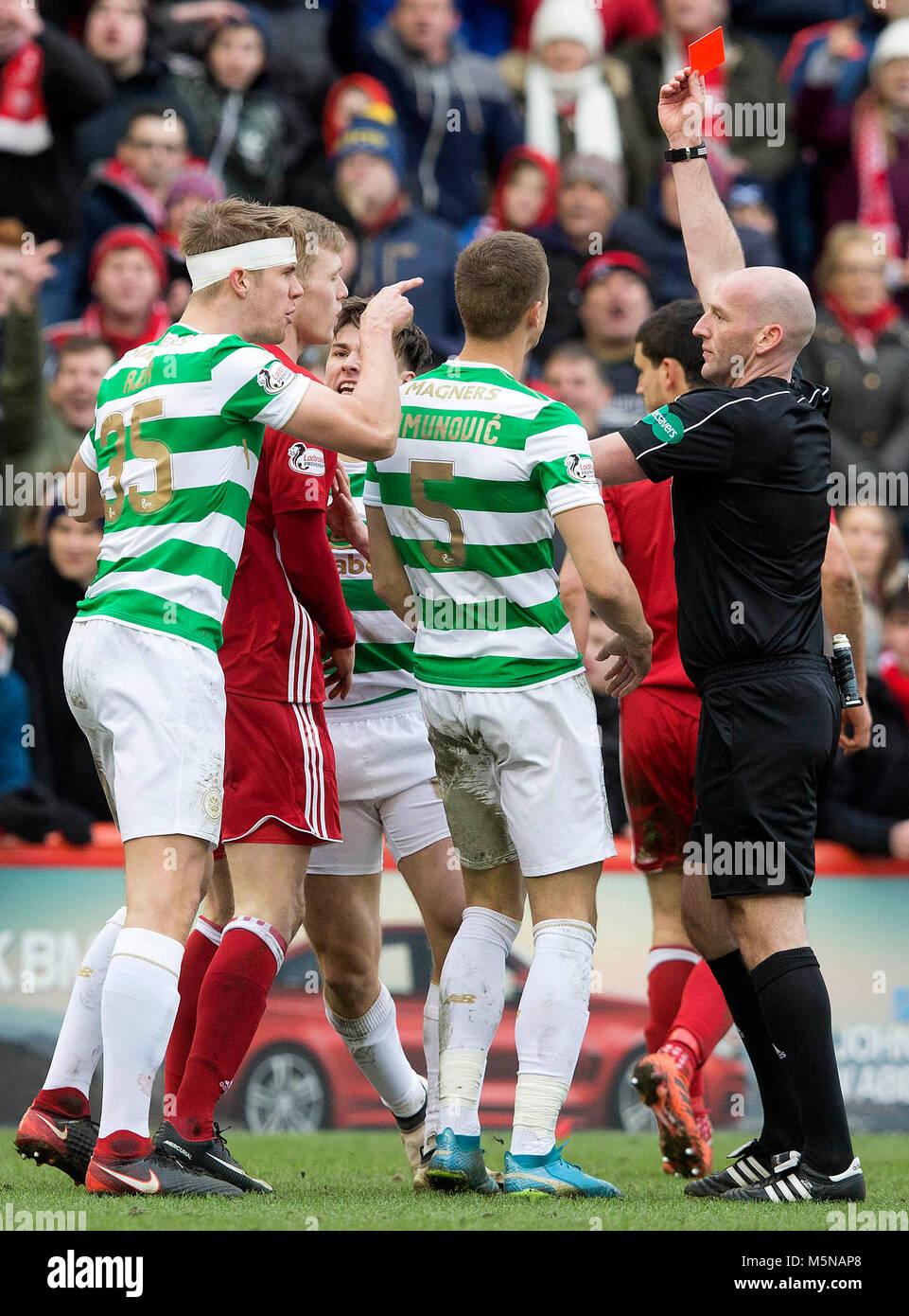 Aberdeen's Sam Cosgrove is sent off during the Scottish Premiership match at Pittodrie Stadium, Abderdeen. - Stock Image