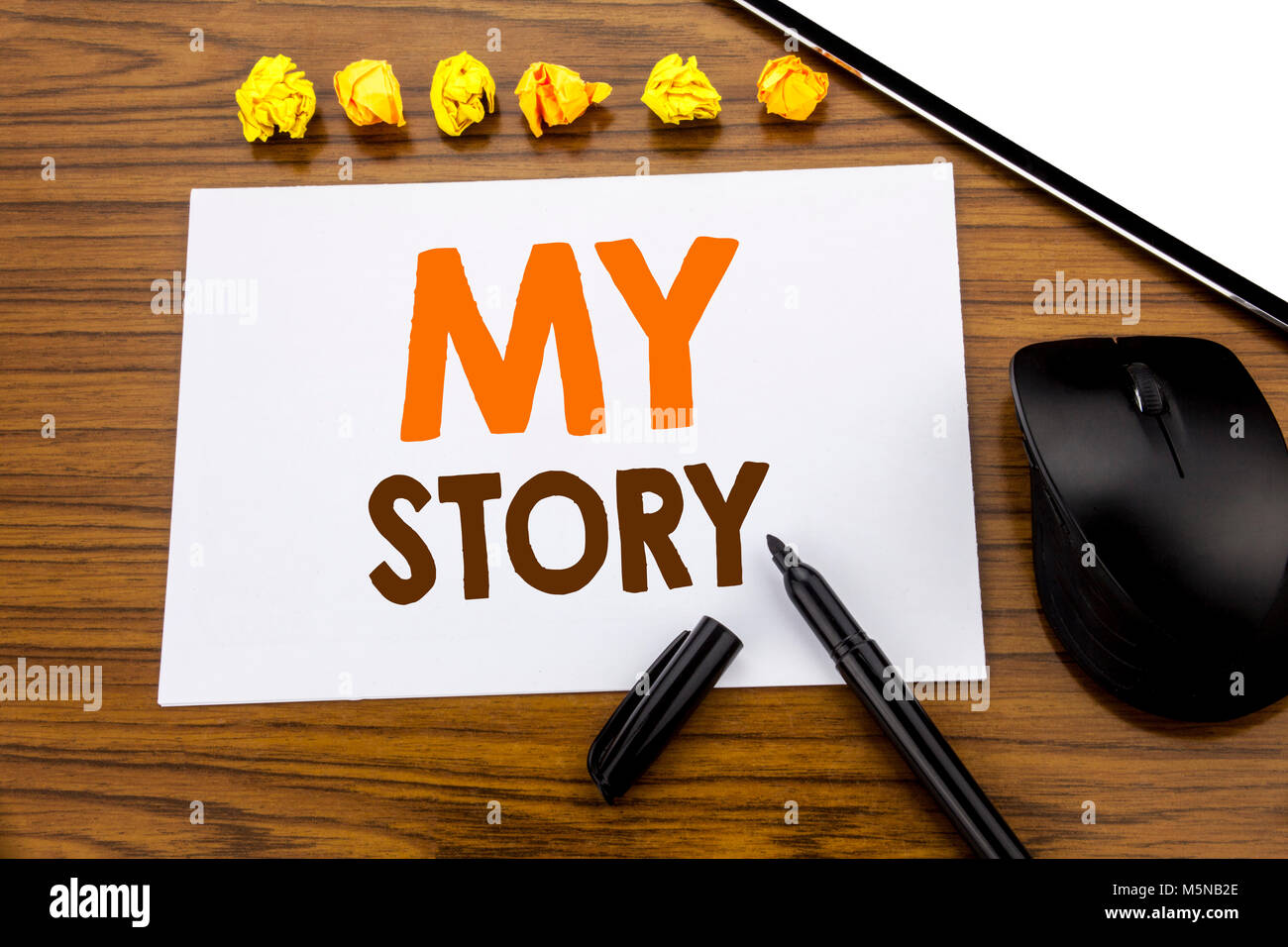 Conceptual hand writing text showing My Story. Business concept for Telling Tell About You written on sticky note - Stock Image