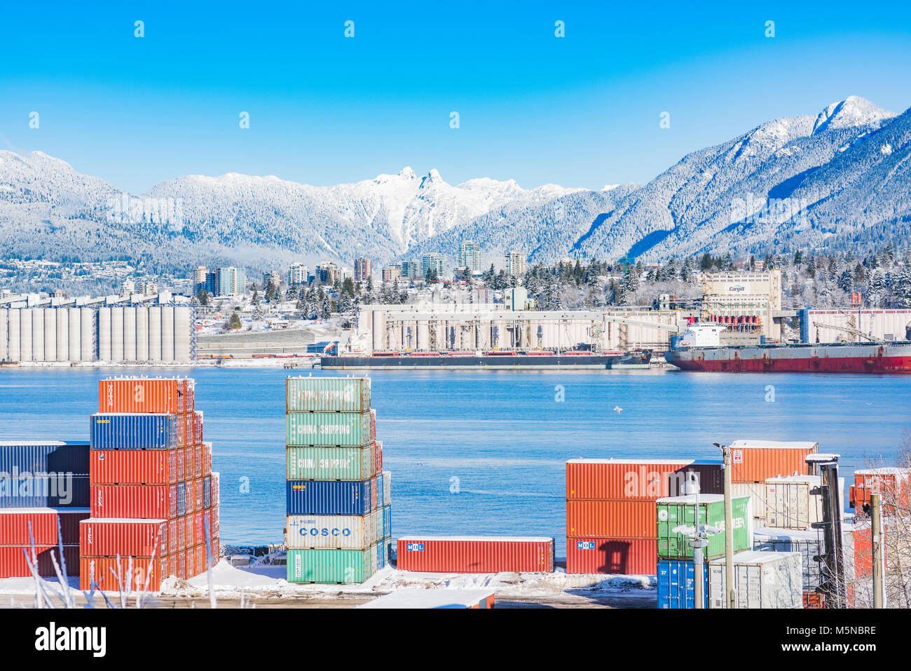Shipping  containers at the Port of Vancouver, Burrard Inlet, Vancouver, British Columbia, Canada. Stock Photo