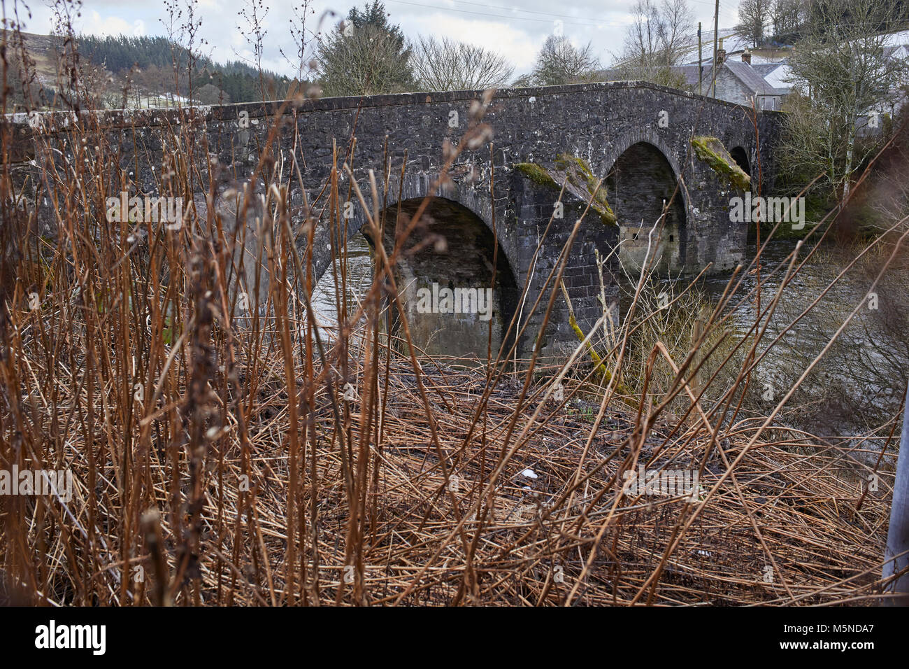 Looking from upstream at a wintery Westerkirk Bridge over the river Esk from the north bank. A category A listed Stock Photo