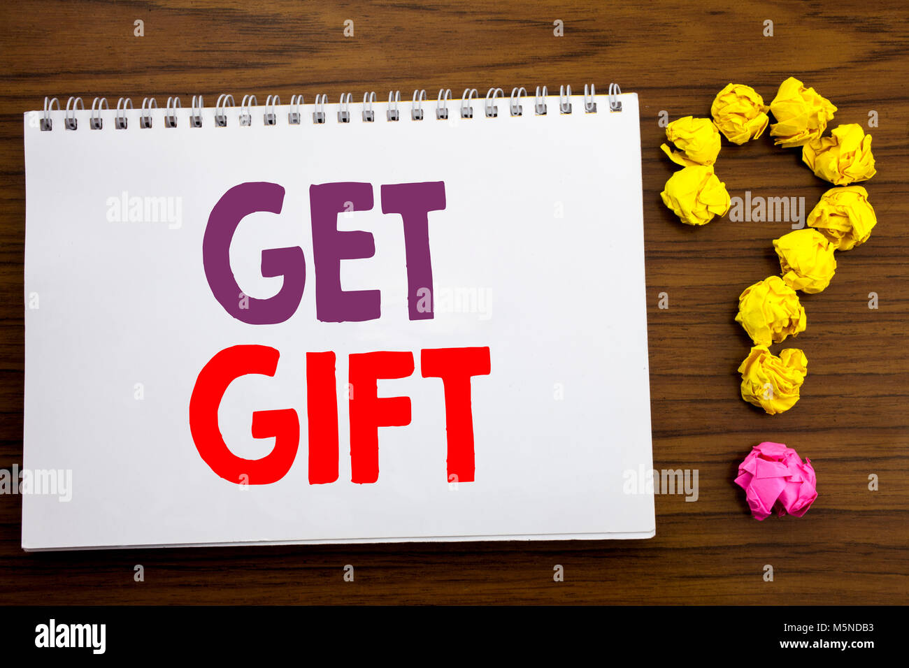 Conceptual hand writing caption inspiration showing Get Gift. Business concept for Free Shoping Coupon written on - Stock Image