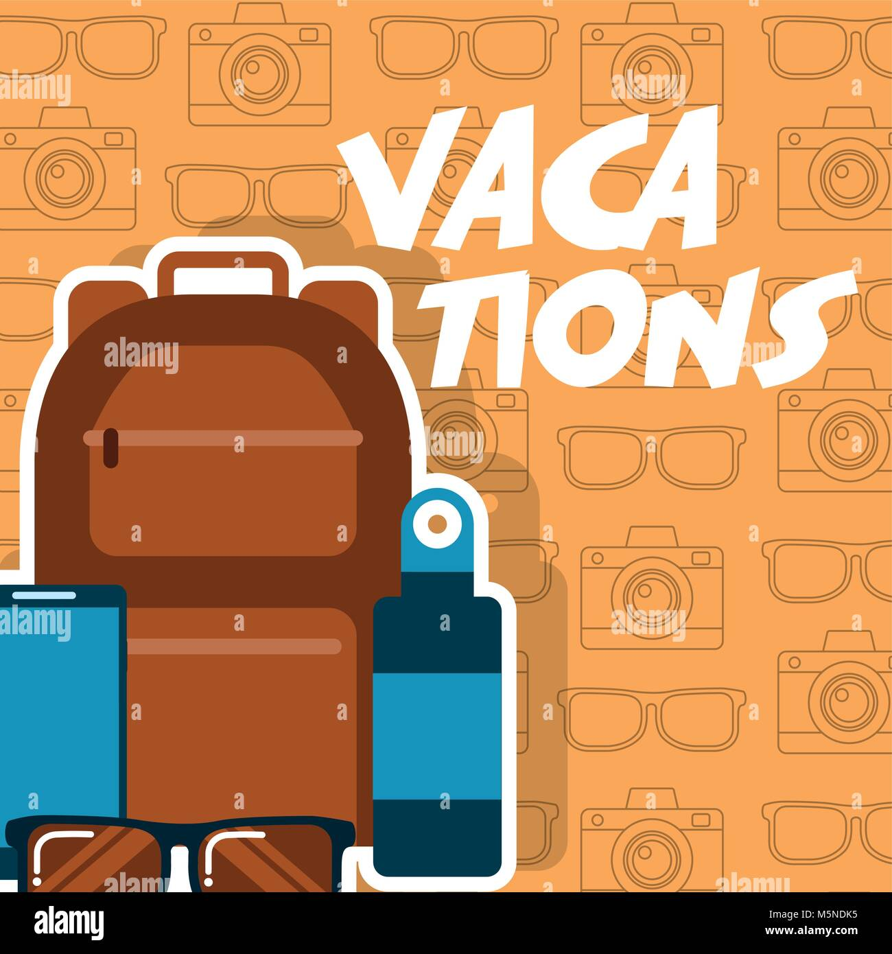 vacations backpack mobile sunglasses bottle - Stock Vector